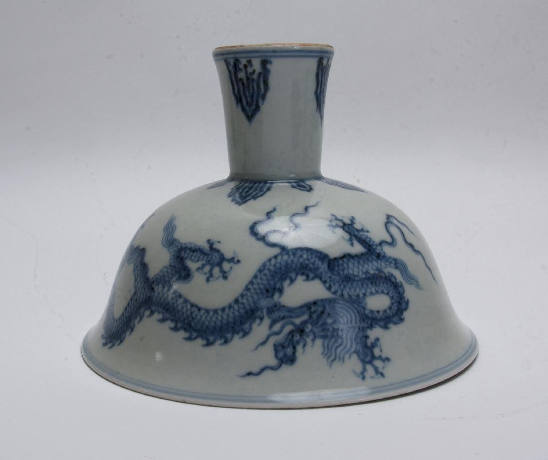 BLUE AND WHITE HIGH HEELED BOWL - 3