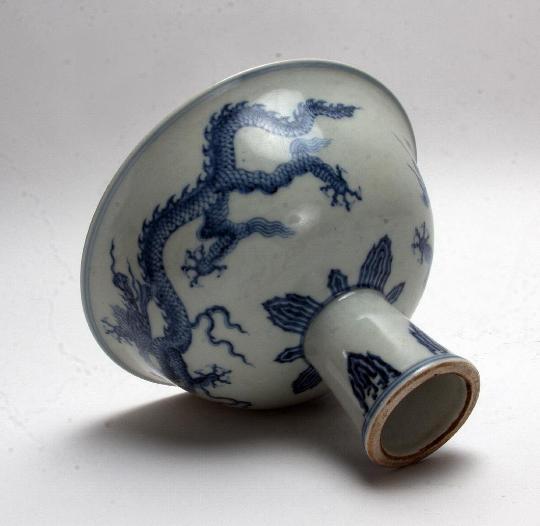 BLUE AND WHITE HIGH HEELED BOWL - 5