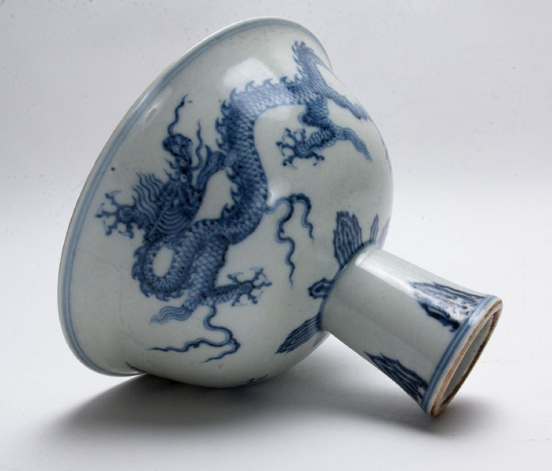 BLUE AND WHITE HIGH HEELED BOWL - 6