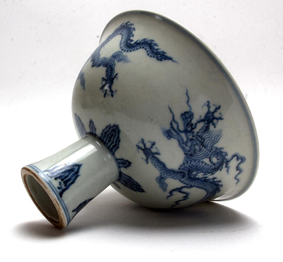 BLUE AND WHITE HIGH HEELED BOWL - 7
