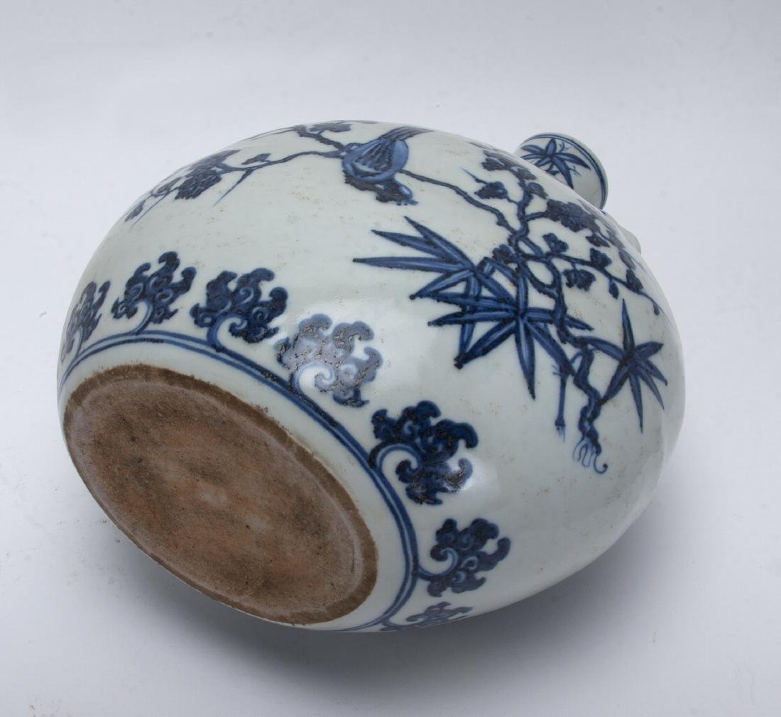 BLUE AND WHITE ROUNDED MOON FLASK - 5