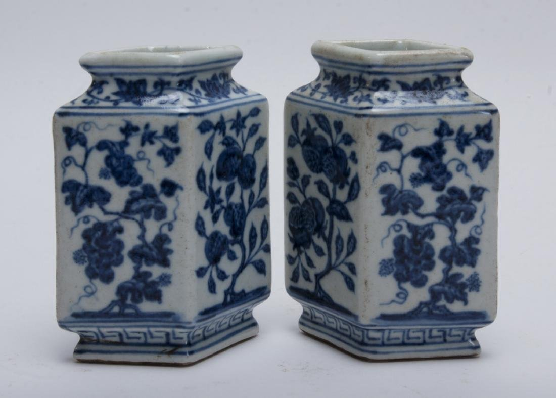 TWO BLUE AND WHITE RHOMBOID BUD VASES - 2