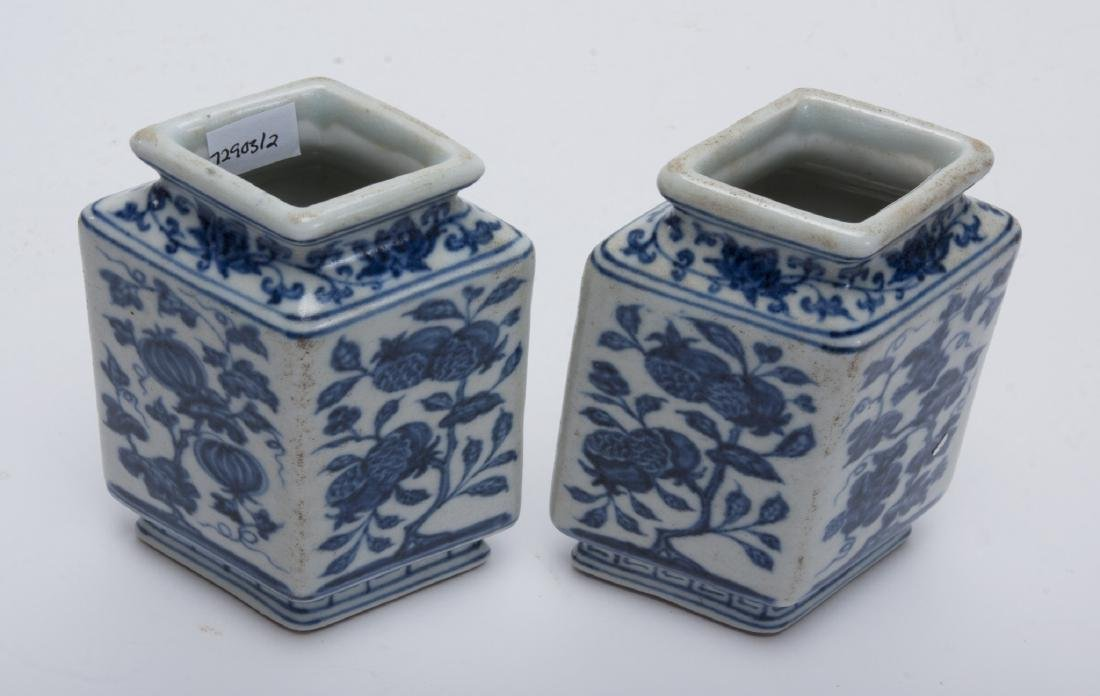 TWO BLUE AND WHITE RHOMBOID BUD VASES - 3