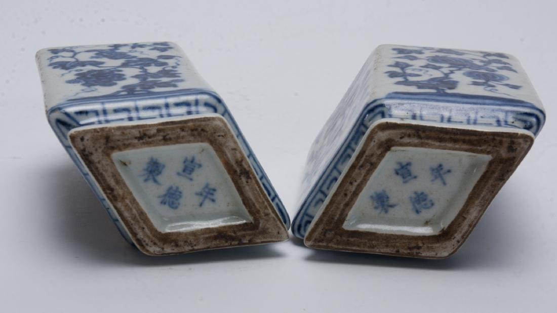 TWO BLUE AND WHITE RHOMBOID BUD VASES - 4