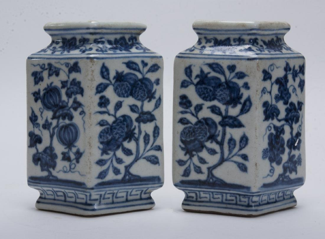 TWO BLUE AND WHITE RHOMBOID BUD VASES - 5