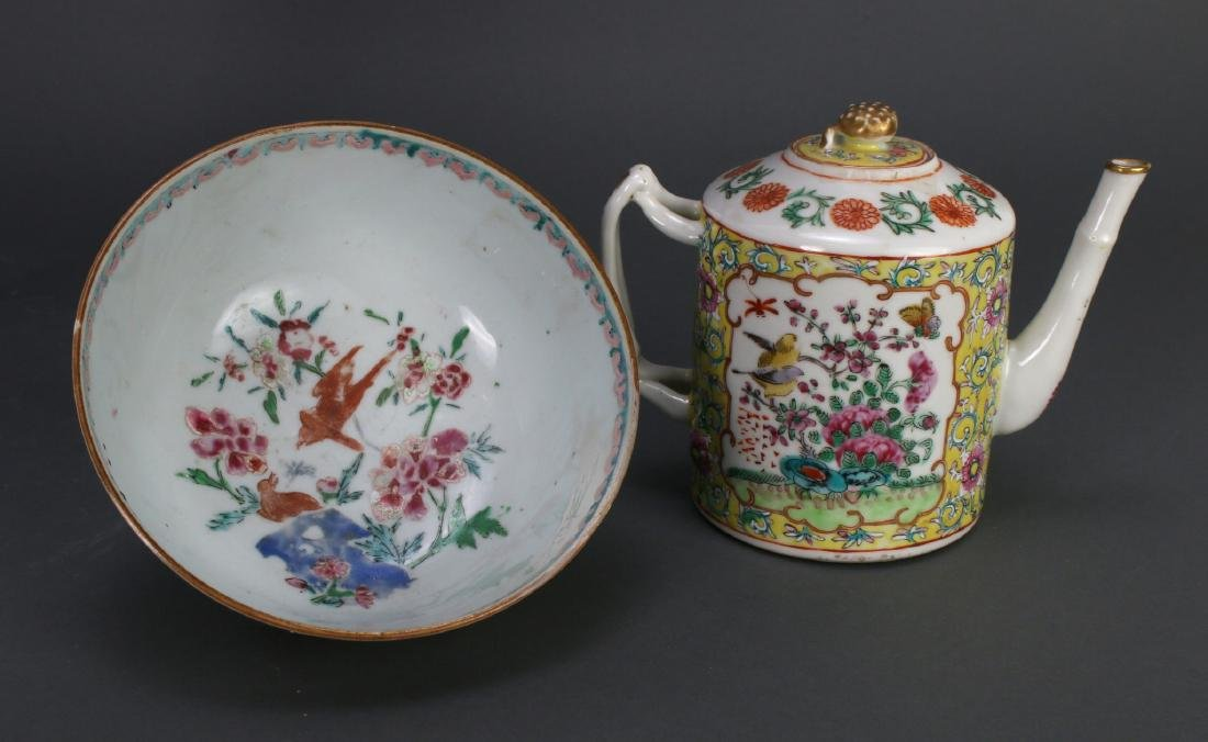 WU CAI TEA POT AND PORCELAIN BOWL