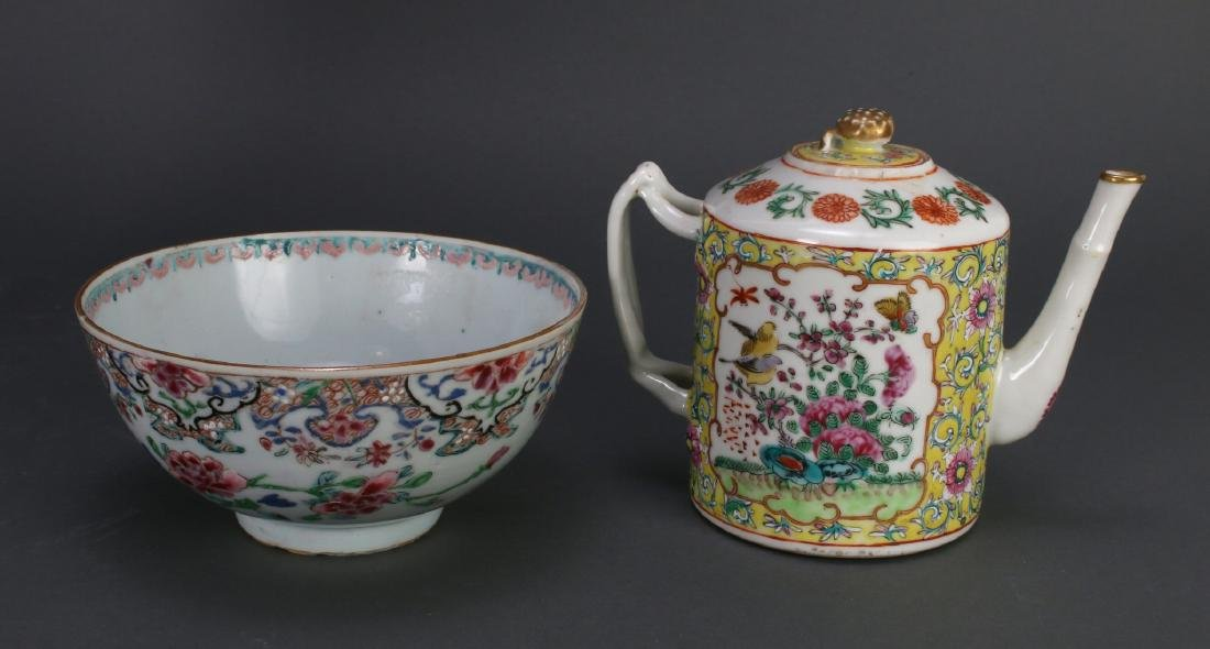 WU CAI TEA POT AND PORCELAIN BOWL - 2