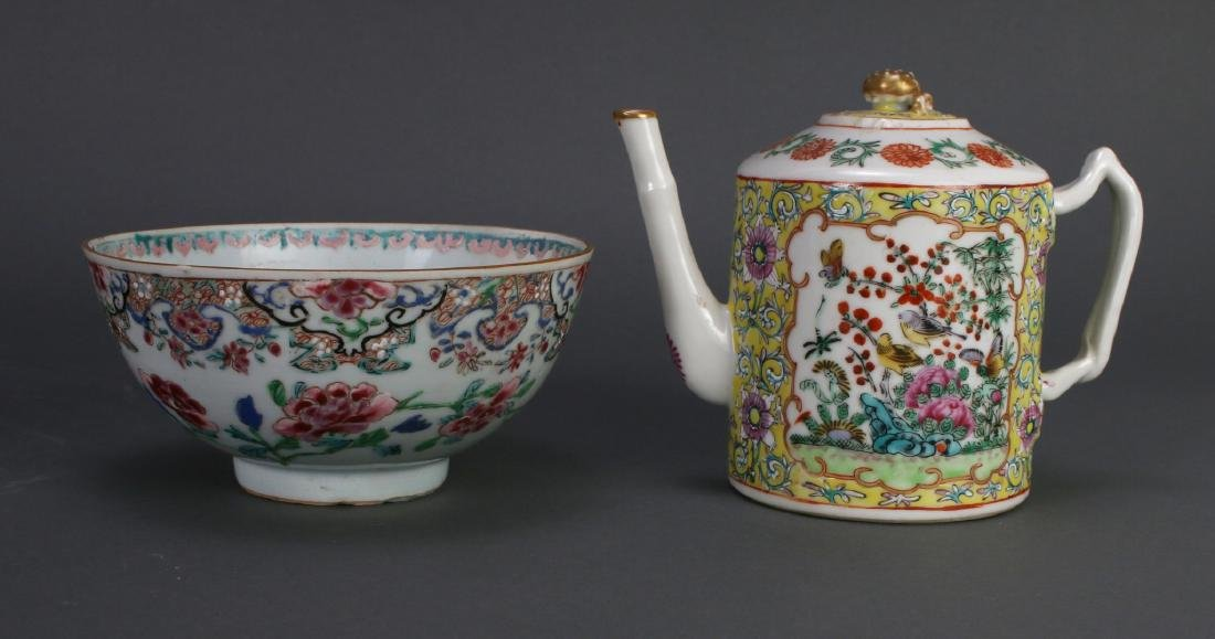 WU CAI TEA POT AND PORCELAIN BOWL - 3