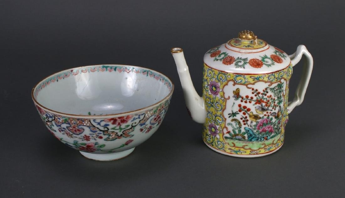 WU CAI TEA POT AND PORCELAIN BOWL - 5