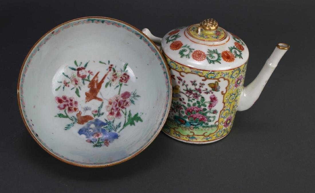 WU CAI TEA POT AND PORCELAIN BOWL - 6