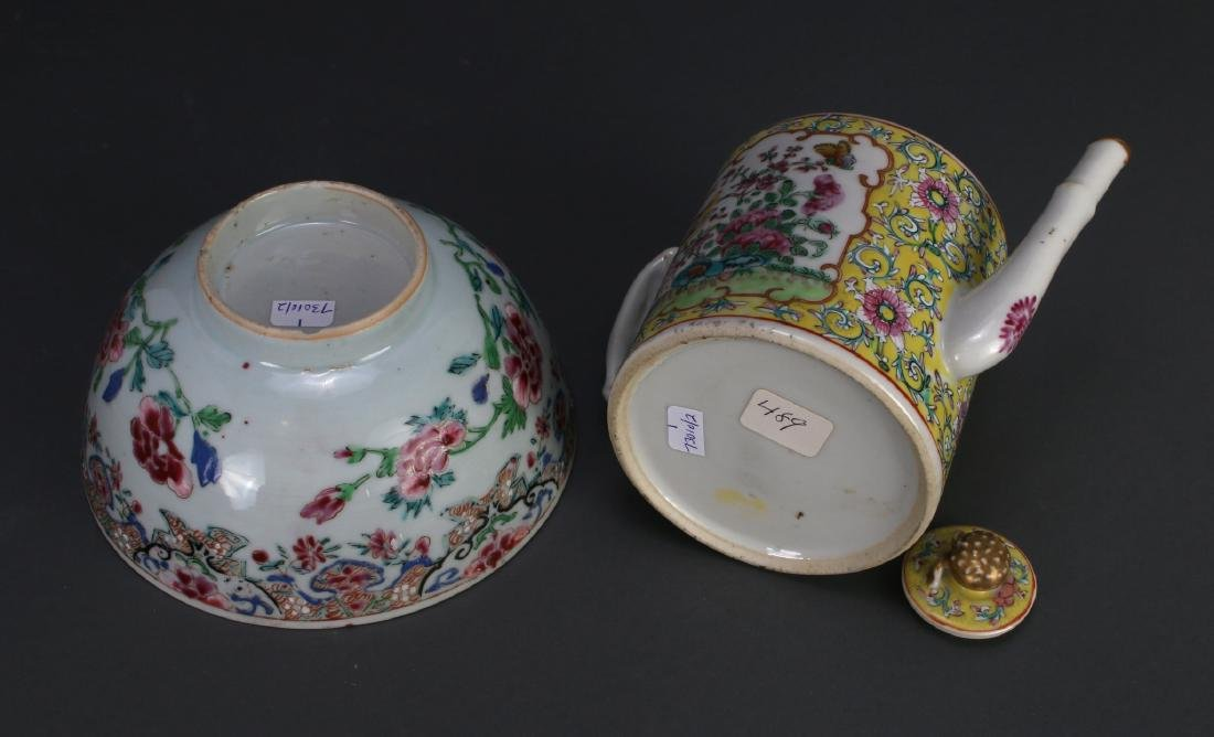 WU CAI TEA POT AND PORCELAIN BOWL - 7