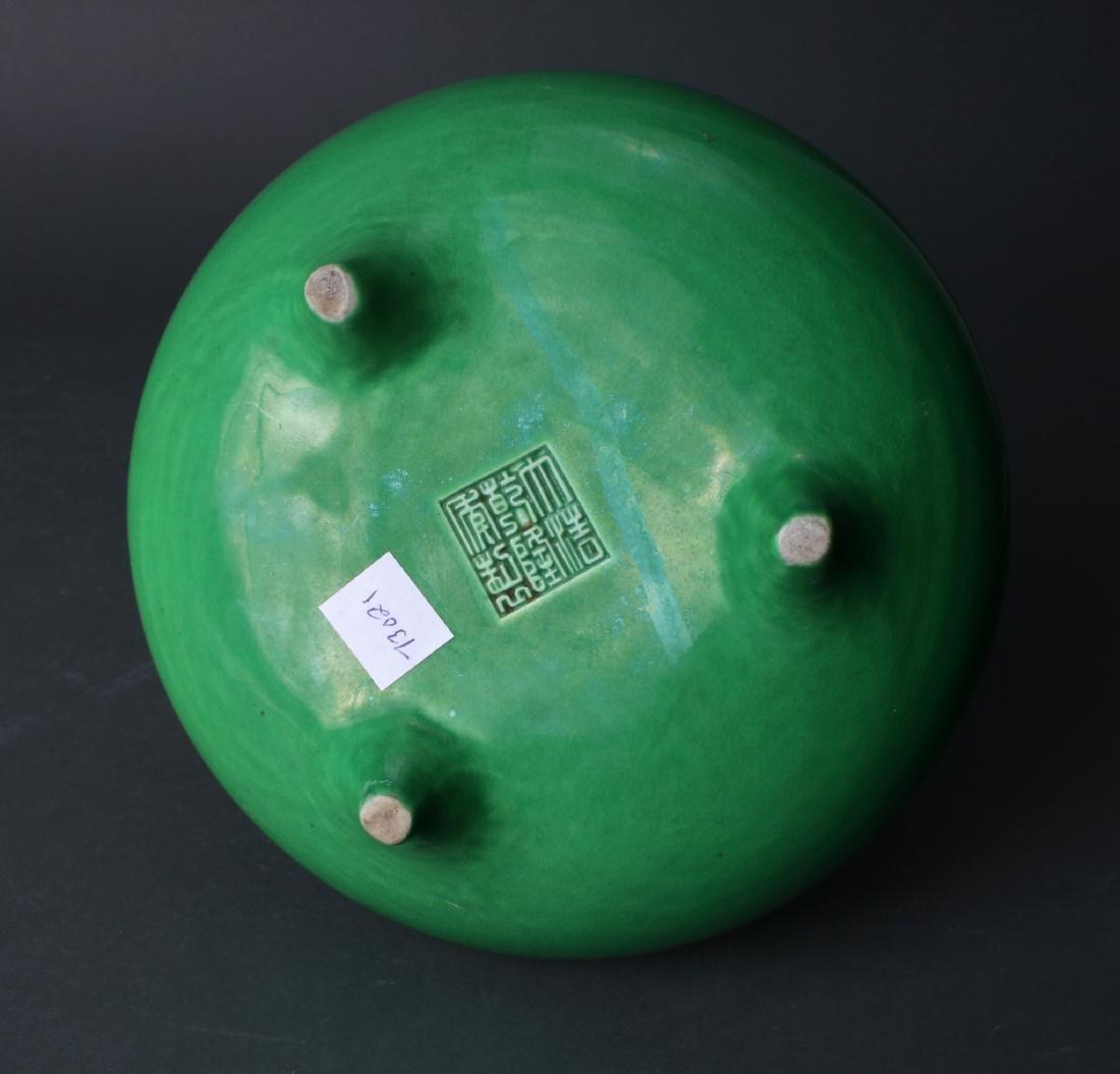 BRIGHT GREEN GLAZED CENSER - 6