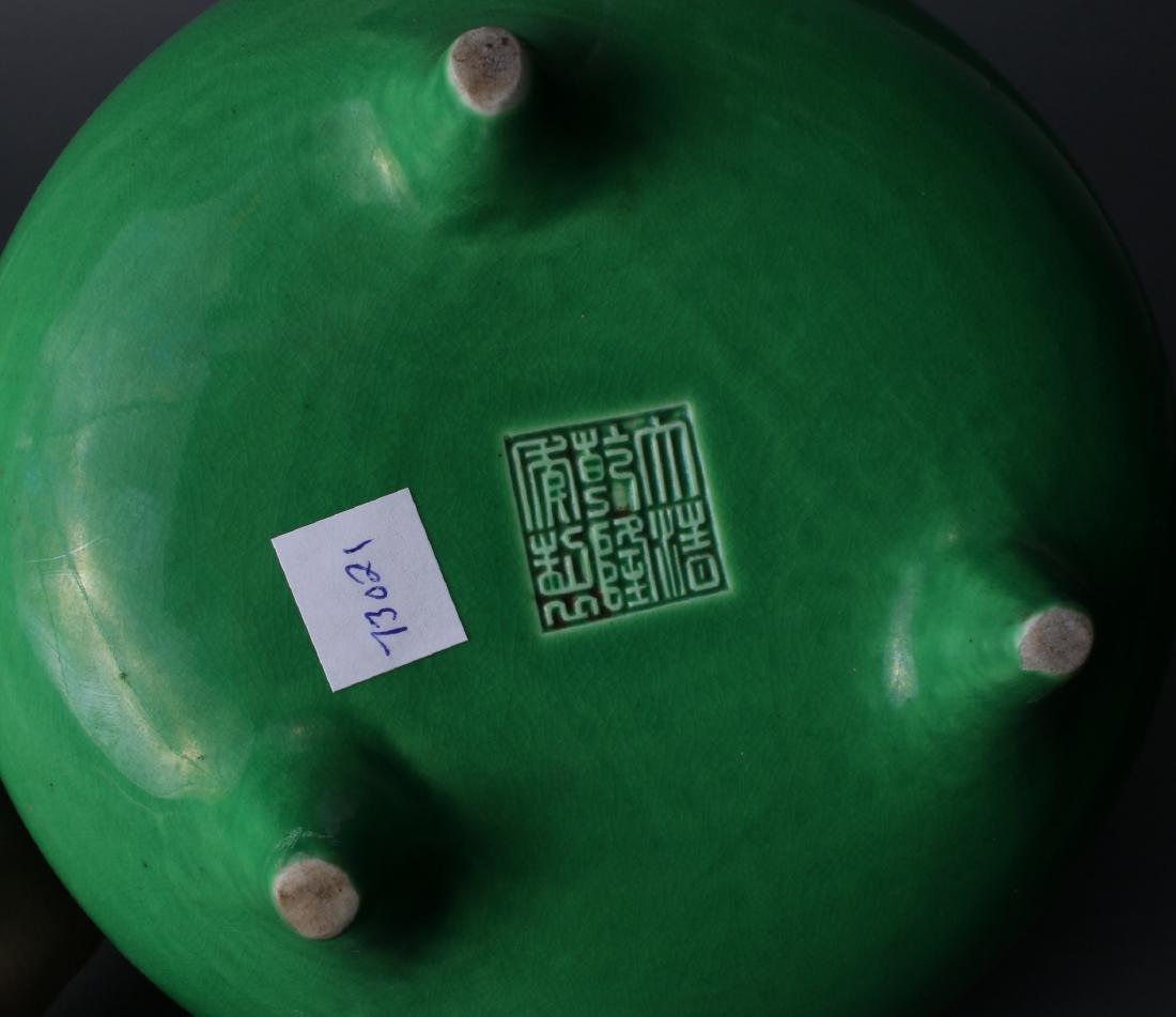BRIGHT GREEN GLAZED CENSER - 7