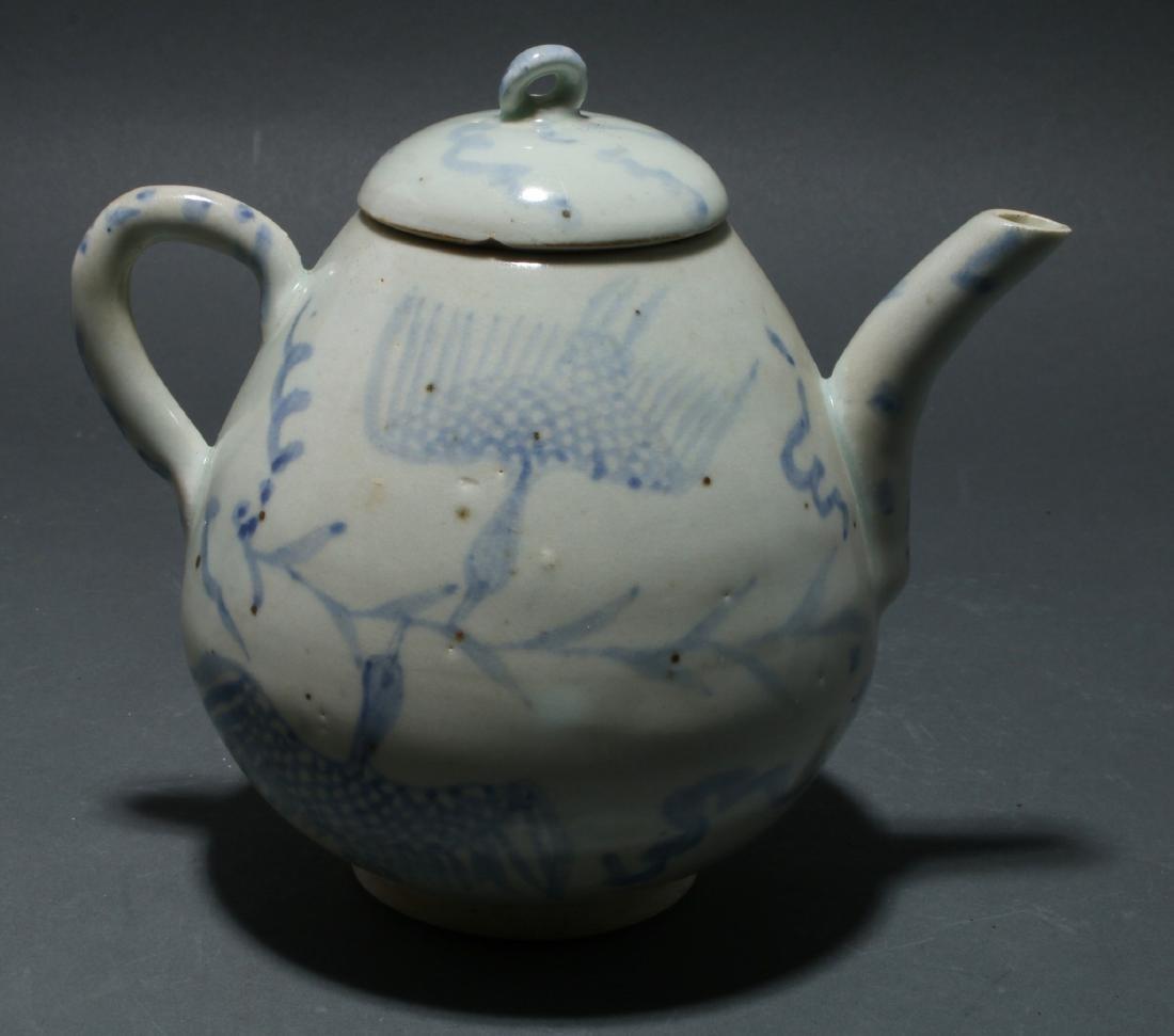 BLUE AND WHITE TEA POT - 2