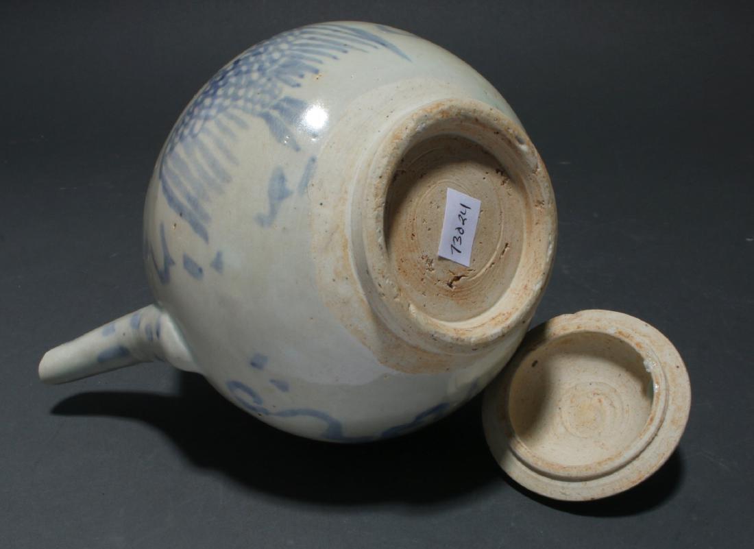 BLUE AND WHITE TEA POT - 6