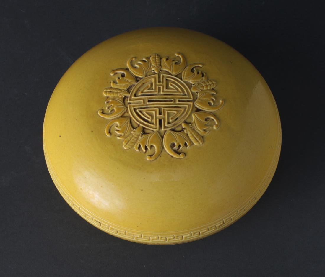 YELLOW GLAZED LIDDED BOX - 2