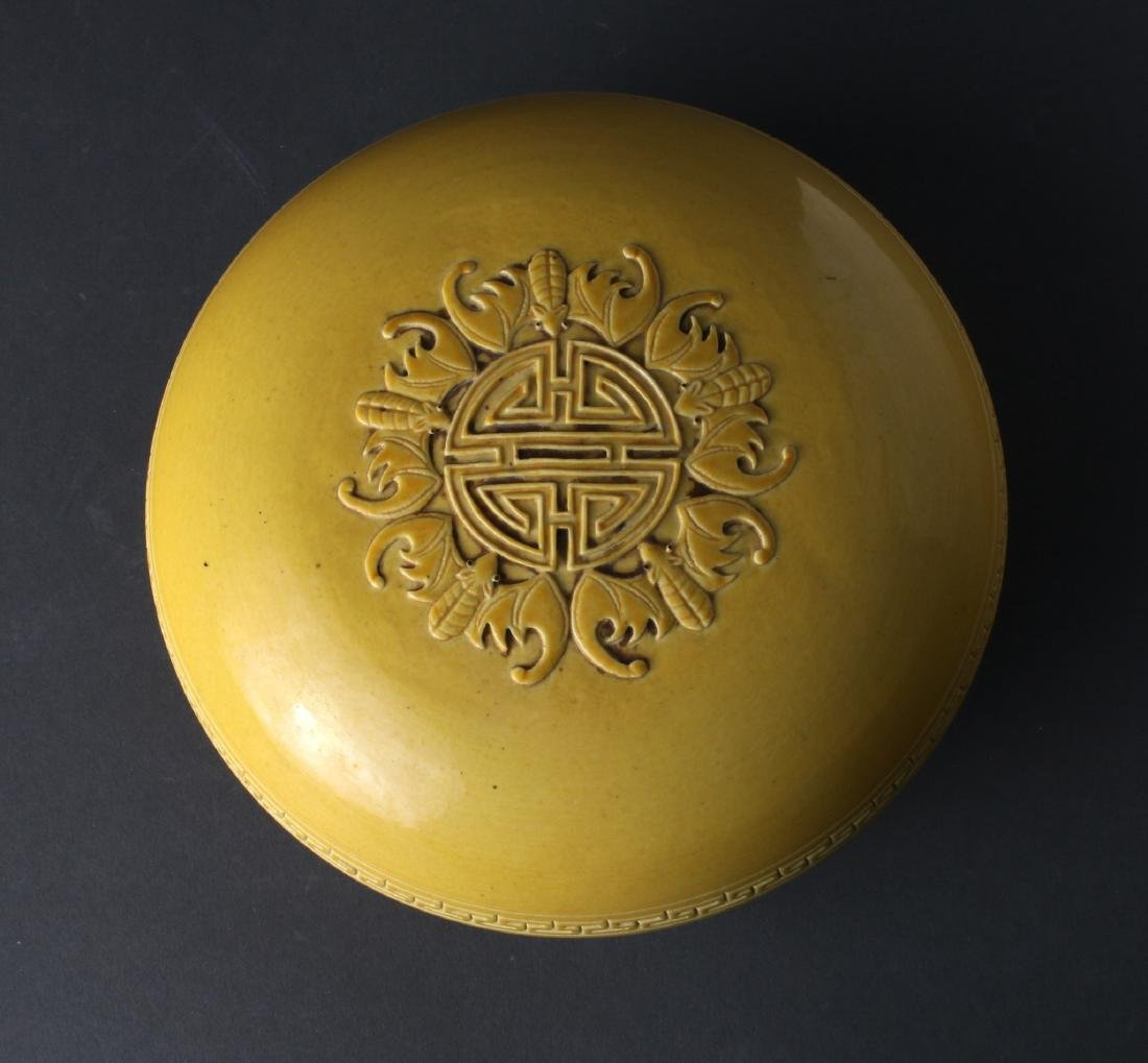 YELLOW GLAZED LIDDED BOX - 4