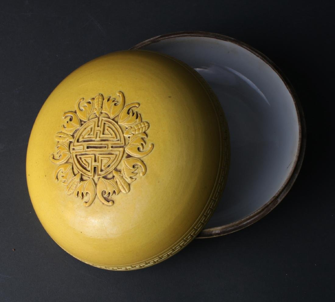 YELLOW GLAZED LIDDED BOX - 5