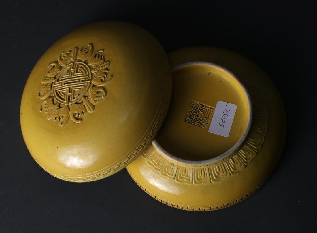 YELLOW GLAZED LIDDED BOX - 6