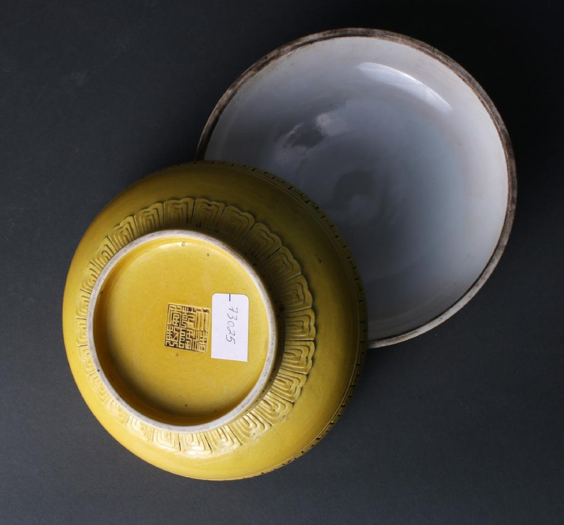 YELLOW GLAZED LIDDED BOX - 8