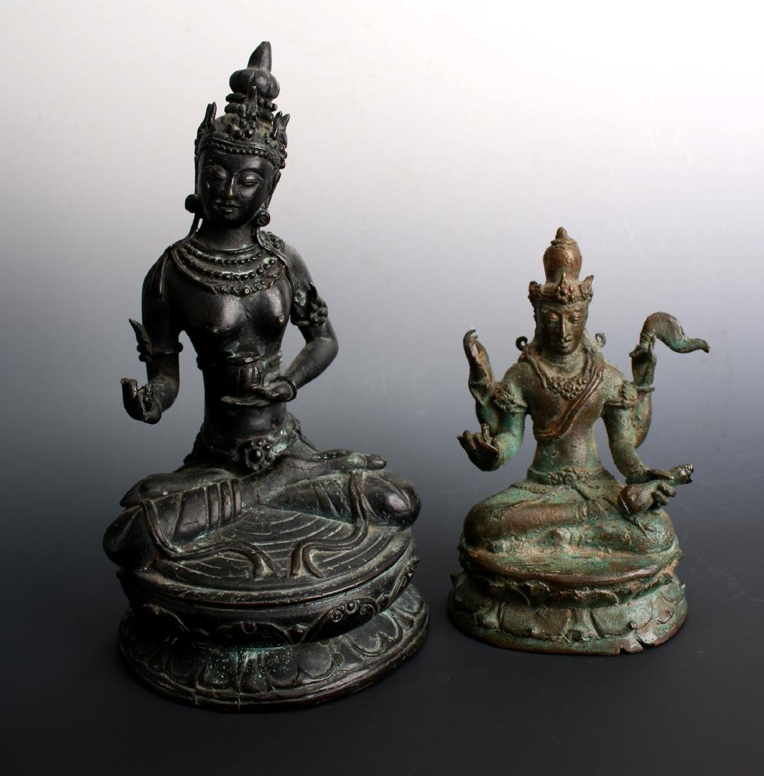 TWO ANTIQUE BRONZE BUDDHAS