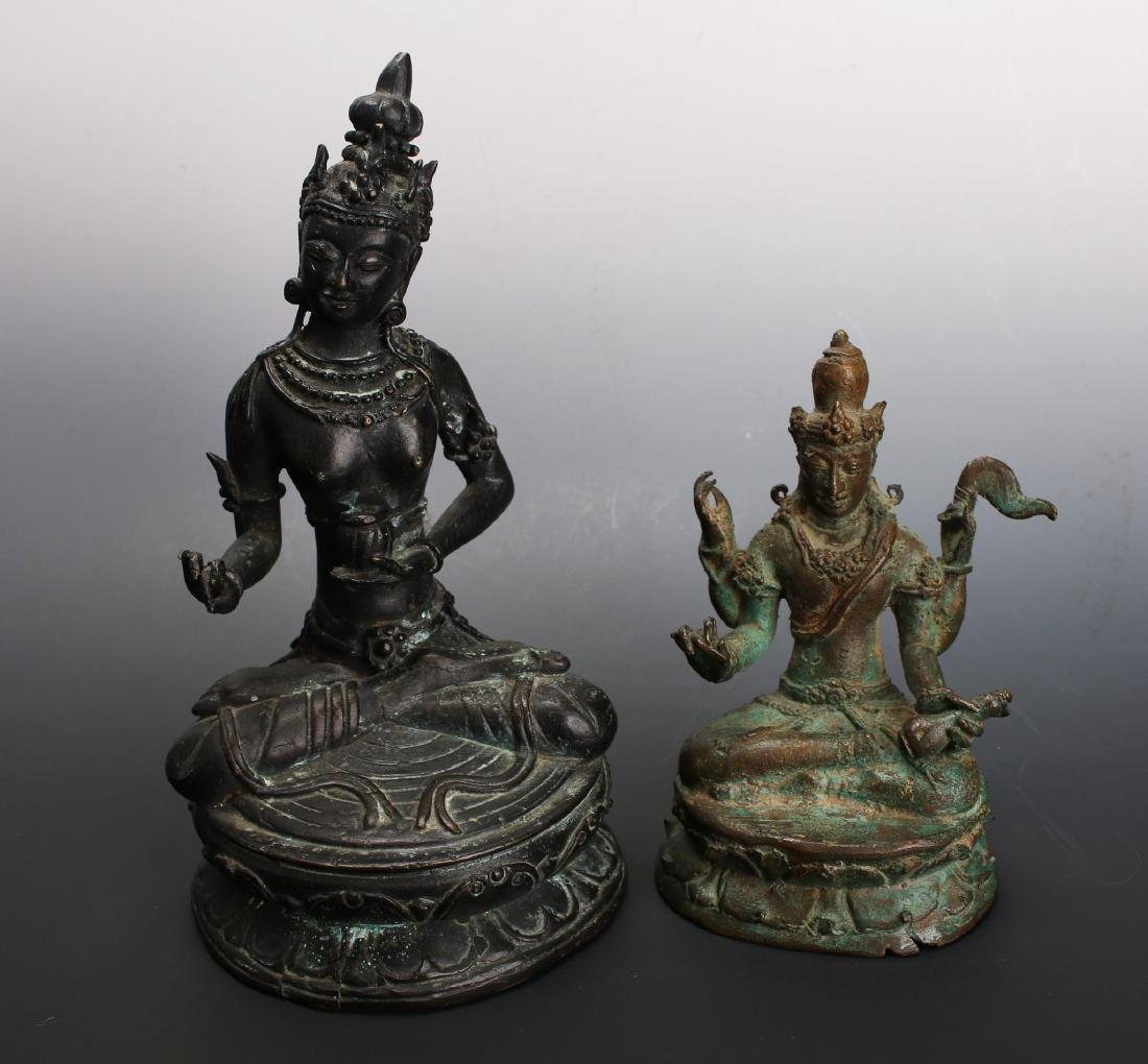 TWO ANTIQUE BRONZE BUDDHAS - 2