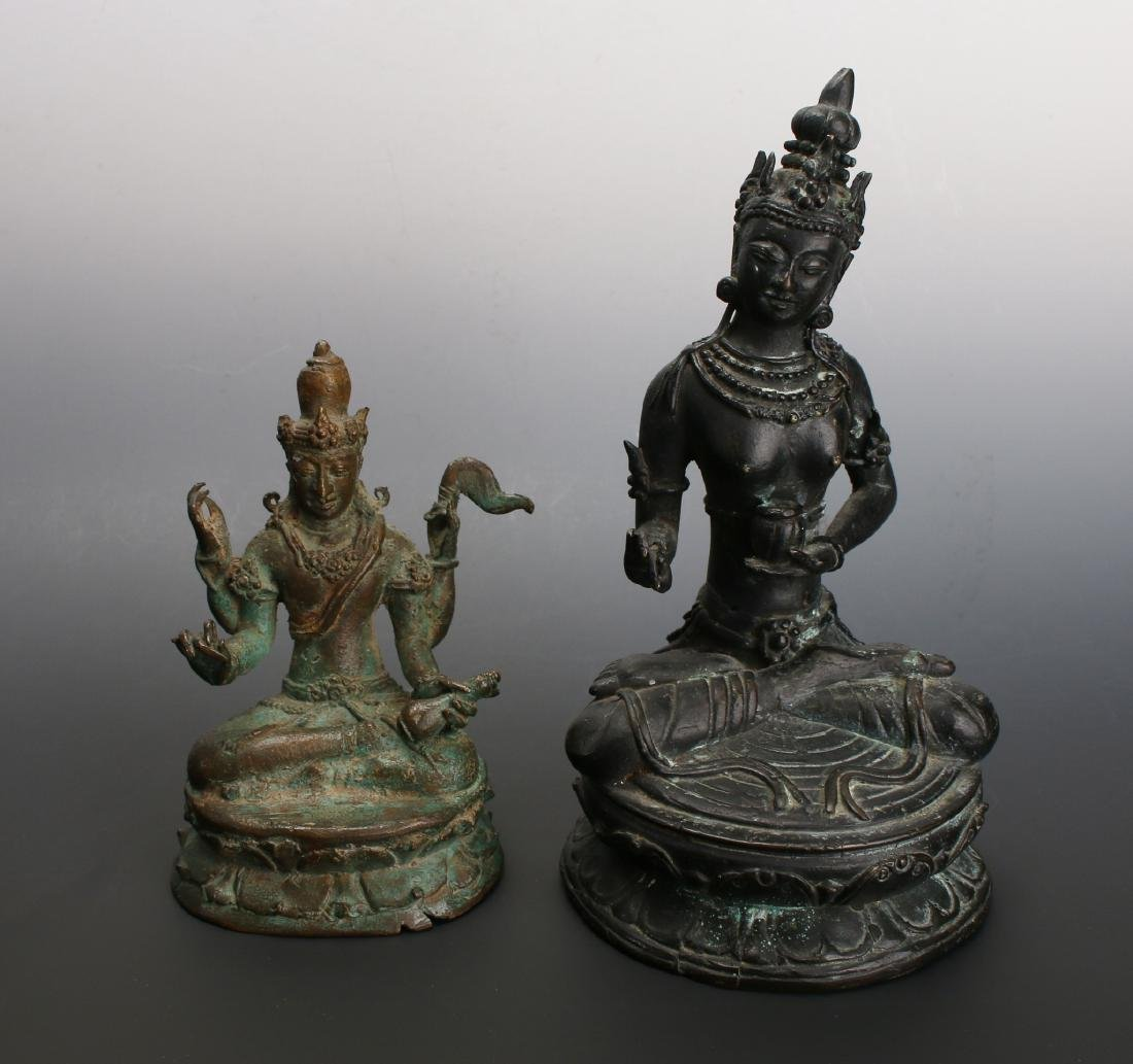 TWO ANTIQUE BRONZE BUDDHAS - 3