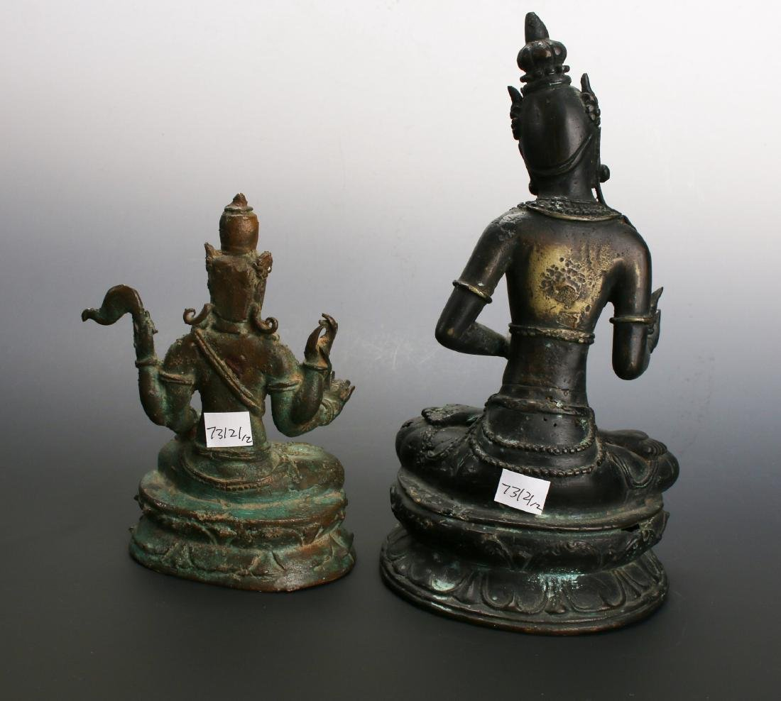 TWO ANTIQUE BRONZE BUDDHAS - 4