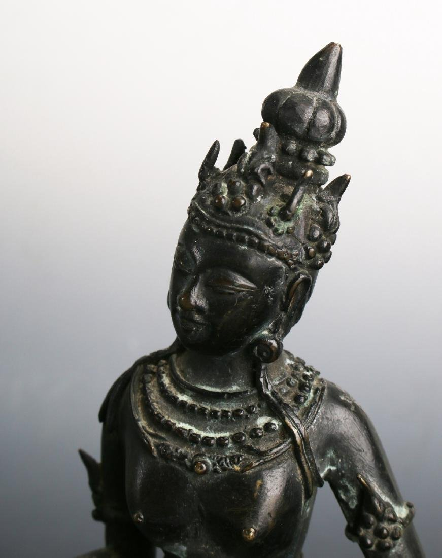 TWO ANTIQUE BRONZE BUDDHAS - 6