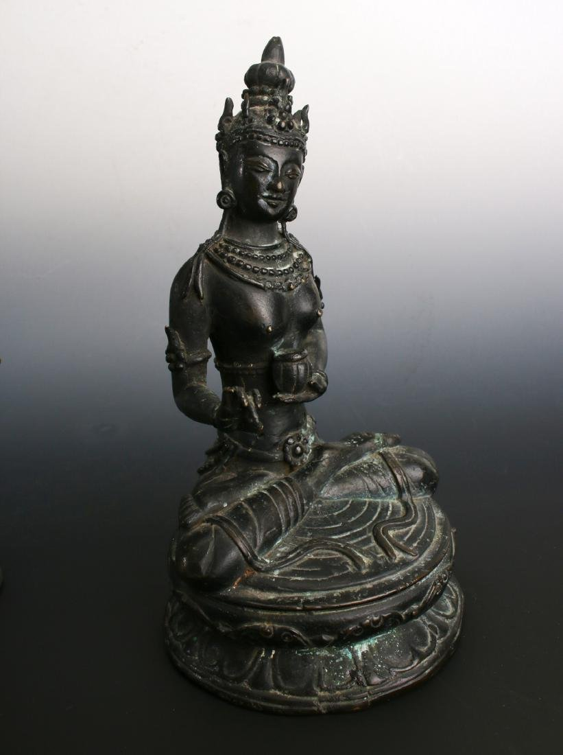 TWO ANTIQUE BRONZE BUDDHAS - 7