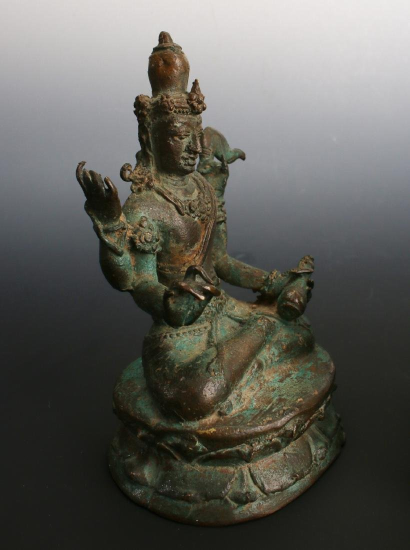 TWO ANTIQUE BRONZE BUDDHAS - 8