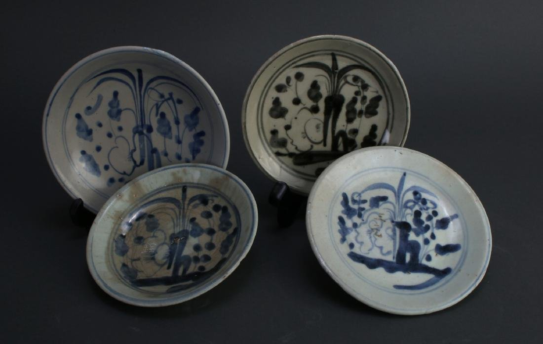 FOUR MING DYNASTY SAUCERS