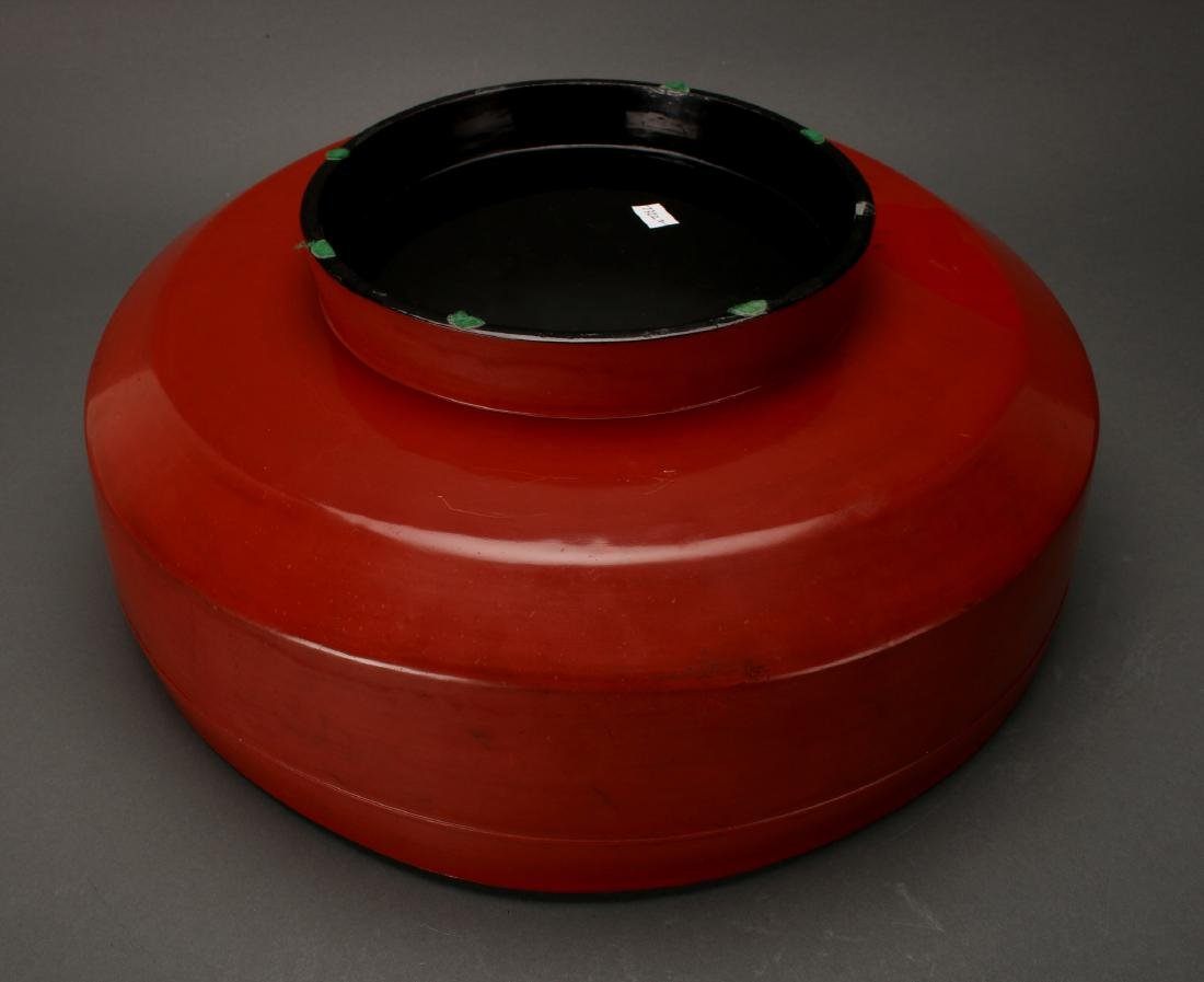 20TH C. RED LACQUER AND GOLD LIDDED CONTAINER - 5