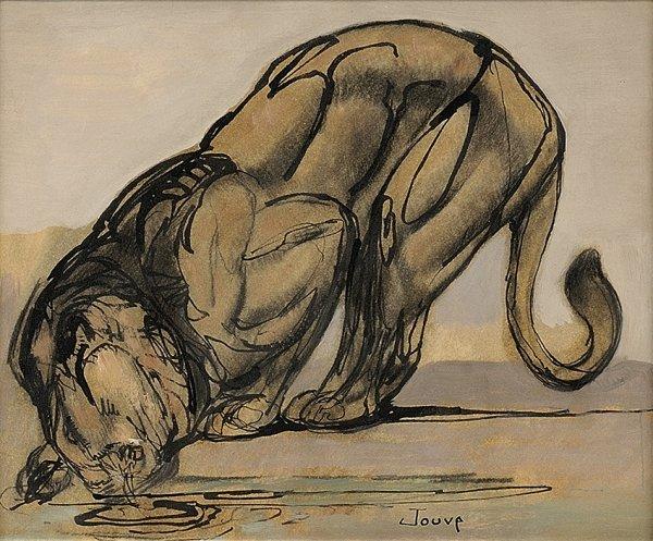 2: PAUL JOUVE (1878-1973) «Lion s'abreuvant» Oil on car