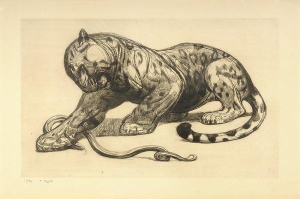 4: PAUL JOUVE (1878-1973) «Panthère et serpent» Origina