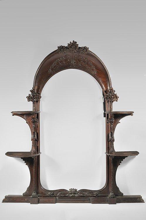 12: TRAVAIL FRANCAIS 1900 Important solid mahogany mirr