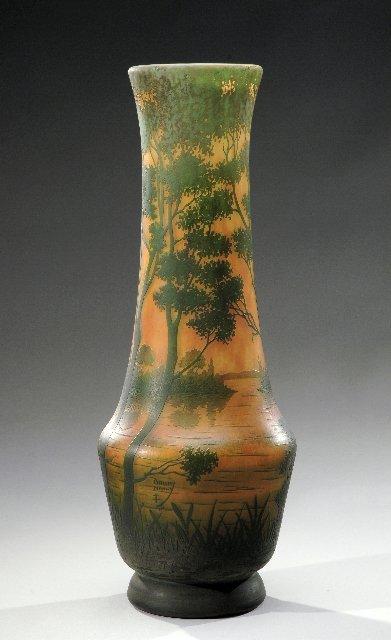 20: DAUM NANCY Important long neck glass pedestal vase