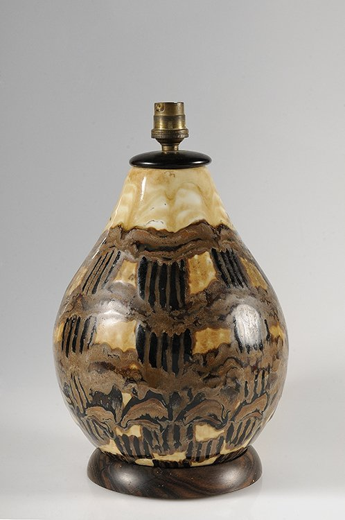 63: CAMILLE THARAUD (1878-1956) Porcelain table lamp wi