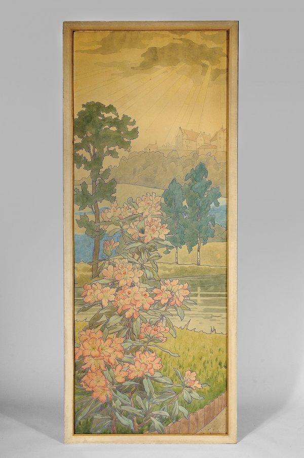 263: TRAVAIL FRANCAIS 1900 Panneau décoratif rectangula