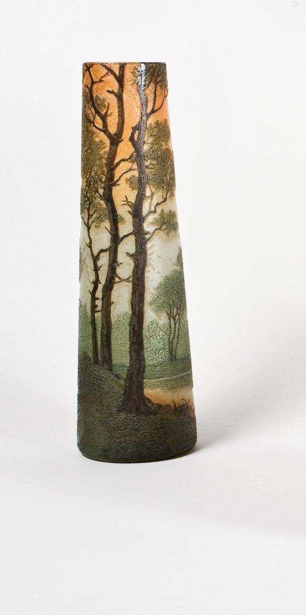 278: LEGRAS Vase de forme conique en verre multicouche
