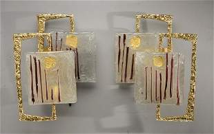 416: ANGELO BROTTO (1914-2002) Paire d'appliques à doub