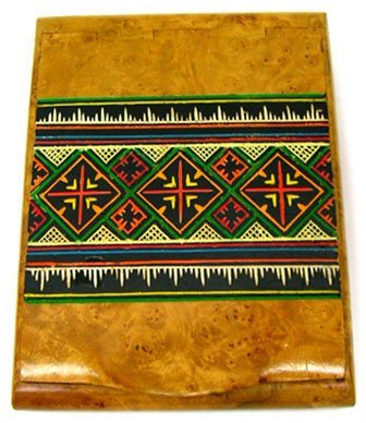 3: INDIAN MOTIF BURLE WALNUT CIGARETTE CASE