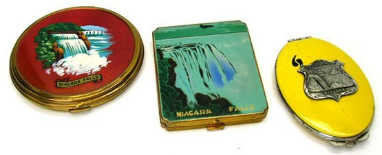 9: 3 1940'S NIAGRA FALLS LADIES COMPACTS