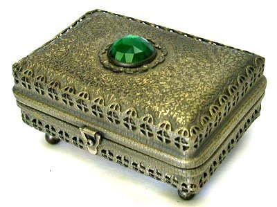 10: EARLY LADIES JEWELRY BOX WITH LARGE GREEN STONE