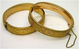 23 TWO VICTORIAN GF LADIES BANGLE BRACELETS