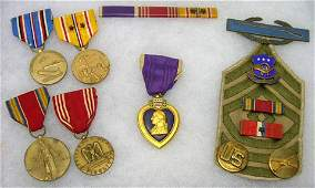 443: WWII 19TH INFANTRY 9 PIECE PURPLE HEART MEDAL GRP