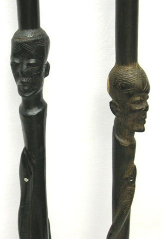 520: 2 EARLY AFRICAN CARVED SNAKE WALKING STICK CANES