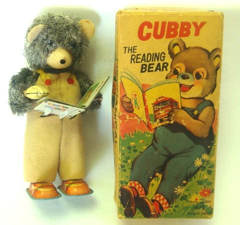 827: 1950'S CUBBY THE READING BEAR TOY WITH BOX