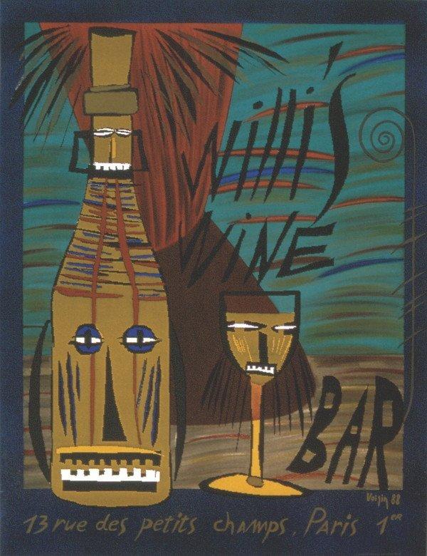 1038: 1988 Voisin Willi's Wine Bar Lithograph