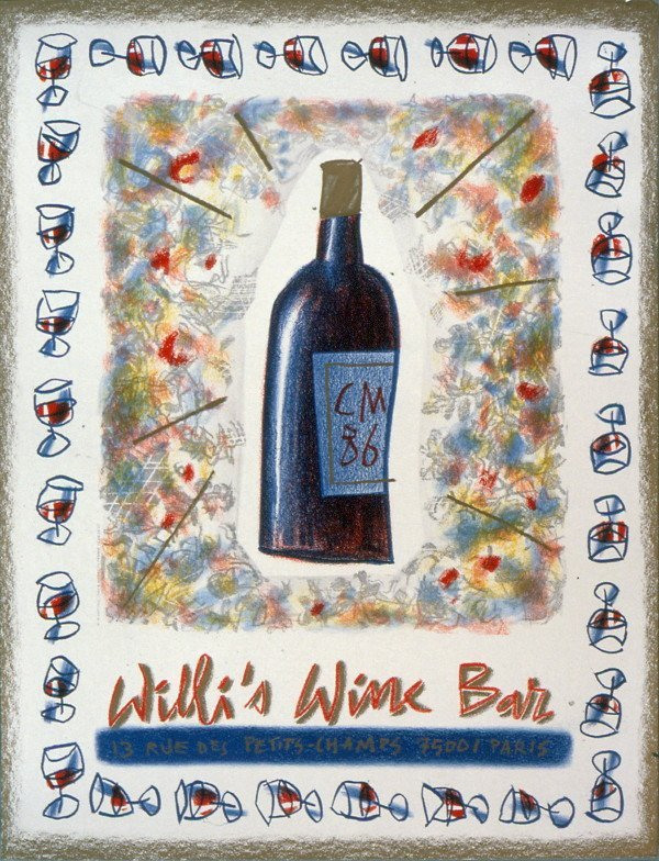 1042: 1986 Millet  Willi's Wine Bar Lithograph